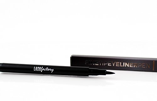 Fine Tip Liquid Eyeliner Pen, Black Waterproof, Perfect Cat Eyes and Wing Tips, Long Wearing Felt Tip Eye Liner by Lash Factory (Eyeliner Estee Liquid)