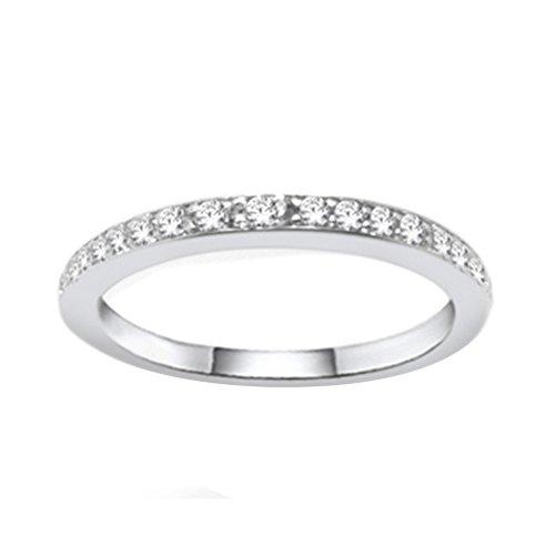 OMEGA JEWELLERY 1/5 Ct Round Cut Real Diamond 14K White Gold Over Eternity Wedding Band (Omega Diamond Ring)