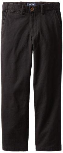 Nautica Sportswear Big Boys' Flat Front Twill Pant, Black, 14
