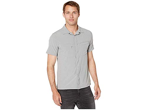 Royal Robbins Men's City Traveler Short Sleeve Shirt Light Pewter X-Large