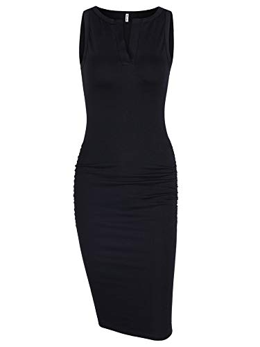 Missufe Woman's Sleeveless Ruched Tank Top Knee Length Slim Fit V Neck Bodycon Club Summer Basic Pencil Dress Black