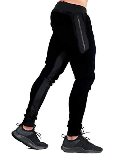 KEFITEVD Cotton Pants for Men Elastic Waist Lightweight Sweatpants Closed Bottom Pants Drawstring Stretch Sport Pants Black