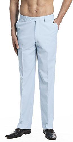 CONCITOR Men's Dress Pants Trousers Flat Front Slacks Solid BABY BLUE Color 42 ()