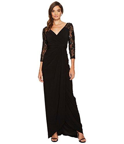 ディンカルビル副詞エゴイズム[アドリアナパペル] Adrianna Papell レディース Long Gown with Beaded Sleeves and V-Neckline ドレス Black 14 [並行輸入品]