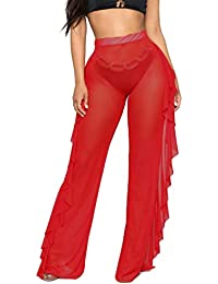 Women's Perspective Sheer Mesh Ruffle Pants Swimsuit...