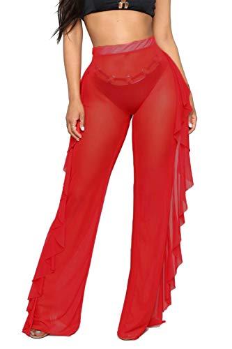 - Doqcey Women's Perspective Sheer Mesh Ruffle Pants Swimsuit Bikini Bottom Cover up (Red, S)