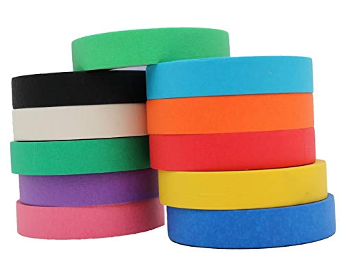 Multi Colored Pro-Grade Masking Tape 1 Inch x 60 Yards Rolls 11 Pack = 660 Yards Great for Crafts, Painting, Packing and Labeling. No ()