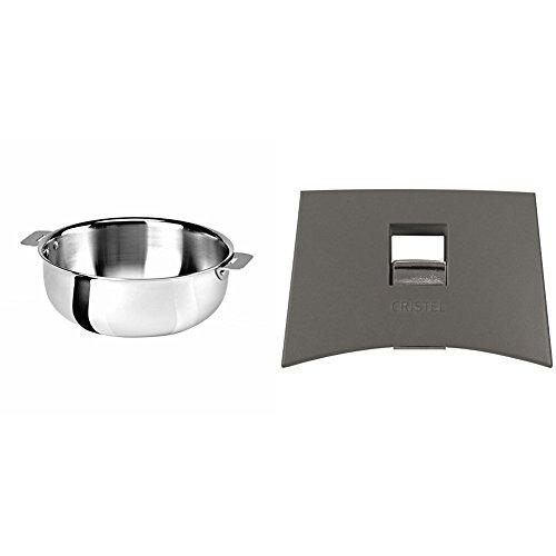 Cristel SR22QMP Saucier, Silver, 3 quart with Cristel Mutine Plmag Side Handle, Grey by