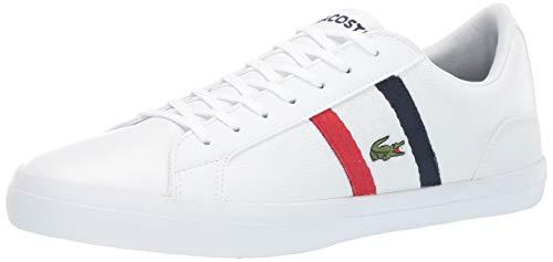 Lacoste Men's Lerond Sneaker, White/red/Navy, 8 Medium - Mens Sneakers Lacoste