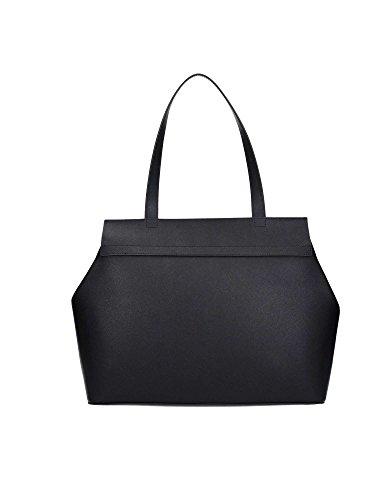 Twin-Set Simona Barbieri - Shopping bag in pelle saffiano sfoderata, con pochette staccabile, Twin-set Simona Barbieri - Nero - AS7PWS.NERO.06 - Nero - UNICA