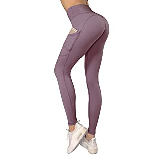 High Waist Workout Leggings for Women with Pockets,Printed Yoga Pants Training Running Tights (Dusty Red, Small)