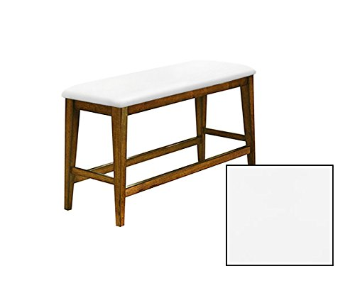 "Counter Height 25"" Tall Universal Bench in an Oak Finish Featuring a Padded Seat Cushion With Your Choice of a Colored Vinyl Seat Cushion (White)"