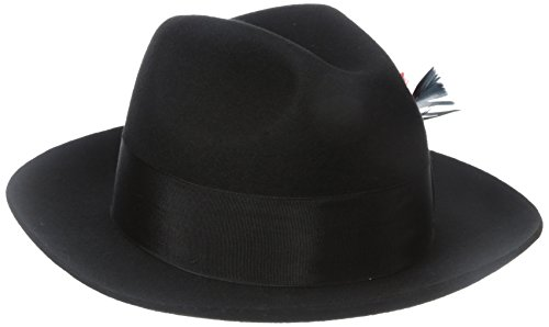 (SCALA Men's Wool Felt Fedora Hat, Black,)