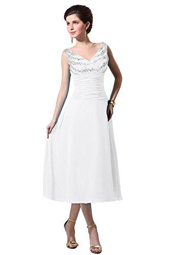Collo Del Nuziali Tè Madre Sposa Bess V Donne Lunghezza Chiffon Vestito Bianco fdFxwf4Oq