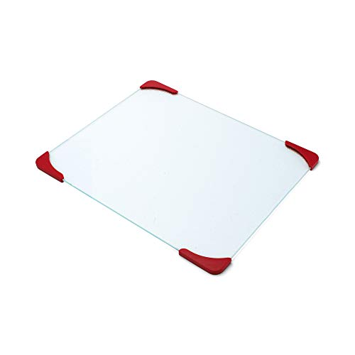 Farberware 12-by-15-Inch Glass Utility Cutting Board with Non-Slip Red ()
