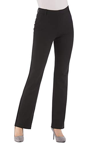 Trousers Bootcut Cotton (BodiLove Women's Bootcut Pull On Stretchy Formal Performance Slacks Black 6)