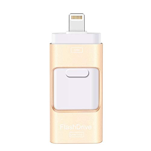 USB Flash Drive 128G Compatible iPhone iPad, Kimiandy USB Flash Drive Encrypted Memory Stick Jump Thumb Drive Compatible Android iPhone iPad PC, High Speed & Easy Transfer Pen Drive (128G Gold) (Iphone Backup)