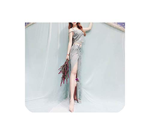 Clothes Shoulder Fairy Clothing Costume 4 Style Belly Dance Set,Grey Straps -