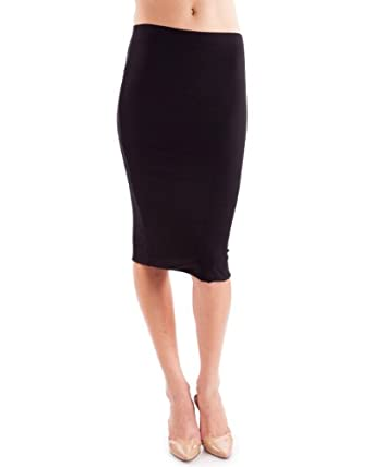 Clothes Effect Women's Double Layered Stretch Knit Pencil Skirt at ...
