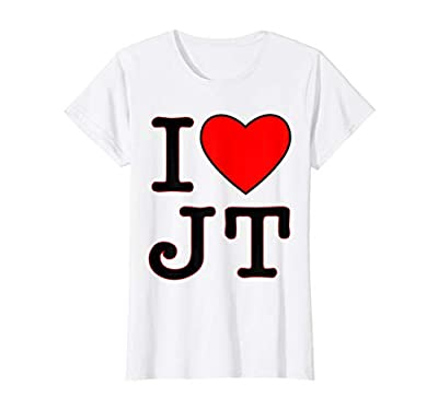 Womens I love JT heart funny JT gift t-shirt