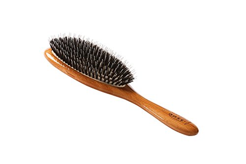 (Bass Brushes | Shine & Condition Hair Brush | 100% Natural Bristle + Nylon Pin | Pure Bamboo Handle | Large Oval | Dark Bamboo Finish | Model 54 - DB)