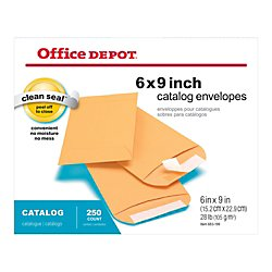 Expanding Catalog Envelopes (Office Depot Clean Seal(TM) Catalog Envelopes, 6in. x 9in., Brown, Pack Of 250, 77918)