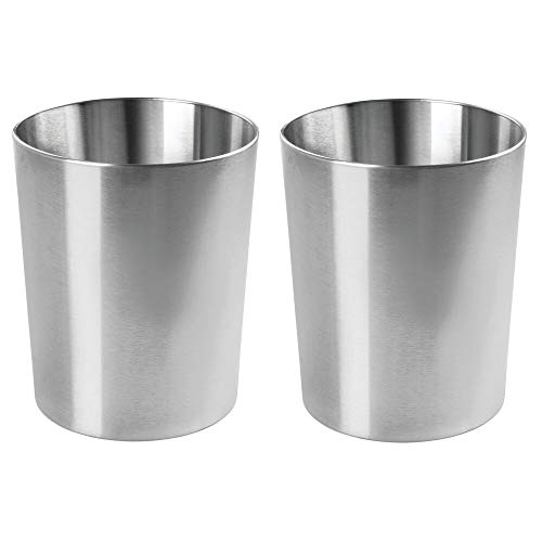 mDesign Round Metal Small Trash Can Wastebasket, Garbage Container Bin for Bathrooms, Powder Rooms, Kitchens, Home Offices - Durable Stainless Steel, 2 Pack - Polished