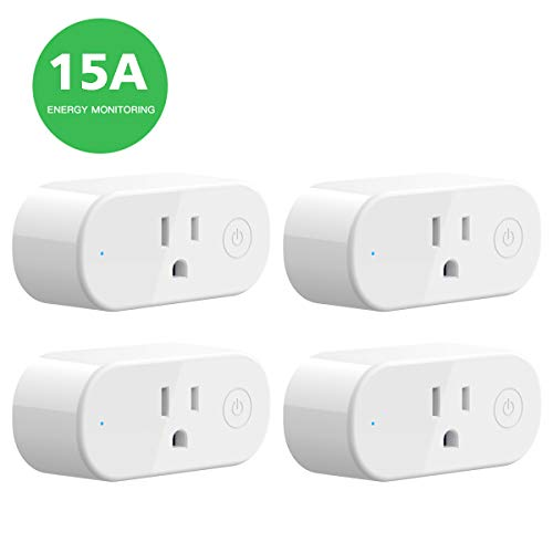 Smart Plug Mini Wi-Fi Outlet – 15 Amp Energy Monitoring Smart Outlet 4-Pack , Compact Design, No Hub Required, Works With Alexa Echo Google Assistant