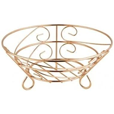 Home Basics Rose Fruit Basket, Gold