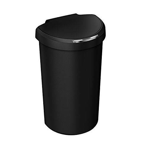 -Round Sensor Can, Automatic Motion Sensor Trash Can, Black Plastic, 40 L / 10.5 Gal (Gallon Plastic Infrared Trash Can)