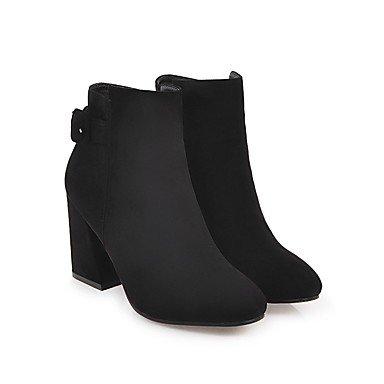 Deutsches Elektronen-Synchrotron Damen Schuhe Nubuck Leder Fall Winter Fashion Stiefel Combat Boots Stiefel Chunky Absatz, runde Zehen Beute/Stiefelette für Casual Party & schwarz