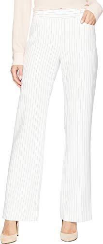 Ladies Pinstripe - Tahari by Arthur S. Levine Women's Pinstripe Trouser Pant, Ivory White/Black, 14