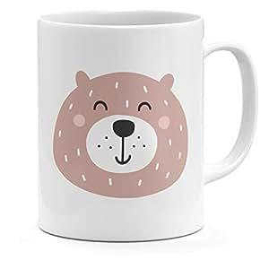 Loud Universe Ceramic Cute Cartoonic Teddy Bear Face Mug, White