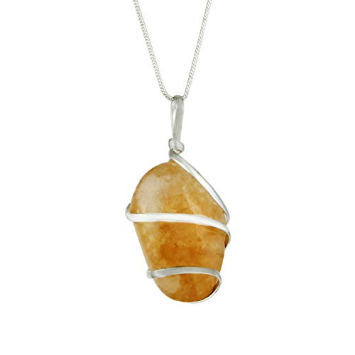Citrine Gemstone Pendant Necklace - Natural Crystal Healing | Stone of Joy, Wealth and Abundance| Energizes Solar Plexus and Navel Chakras| Jewelry for Men & Women