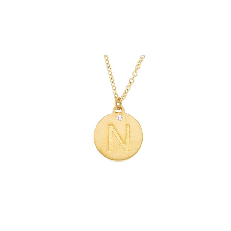 Personalized alphabet engraved 14k Yellow gold diamond initial letter N mini disc pendant necklace