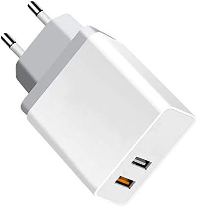 PRITECH Quick Charge 3.0 Cargador de Viaje Enchufe Cargador USB Carga Rápida con 2 Puertos una Rápida y Otro Normal Adaptador de Corriente para iPhone 8/XS/XR,iPad,Xiaomi, Samsung S10/S9/ S8 y más.