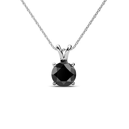 trijewels Round Cut Black Diamond Solitaire Pendant 1.50 ctw 14K White Gold