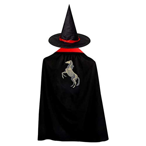 Outlaw Hero New Horse Skeleton Anatomy Children's Halloween Cloak Black Ponchos Cape With Wizard Hat Costume For Kids ()