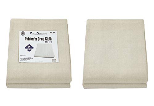 Pack of 2: Drop Cloth Cotton Canvas Tarp 4x12 Finished Size for Art Supplies, Painting Supplies/Painting Canvas Fabric or Cover Couch and Furniture from Paint by Dirt Defense.