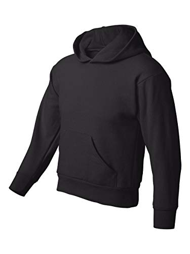 Hanes 7.8 oz Youth COMFORTBLEND EcoSmart Fleece Pullover Hood, Black, ()