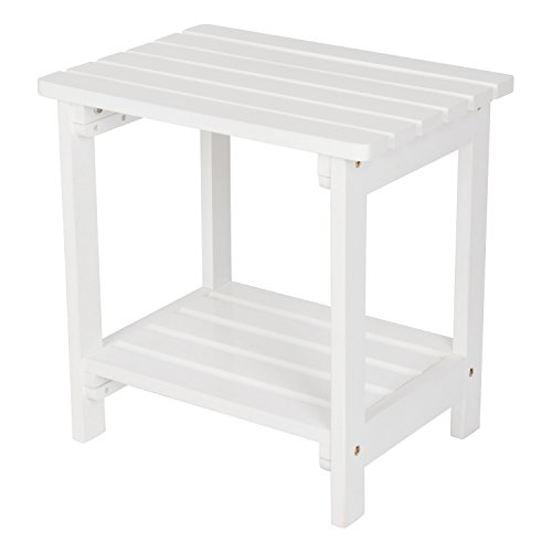 Shine Company 4104WT Rectangular Side Table, White For Sale