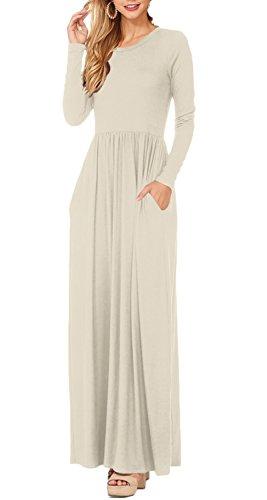 ESONLAR Long Sleeve Maxi Dress for Women Ladies Crewneck High Waist Slim Fit Cocktail Floor Dress Beige Meium