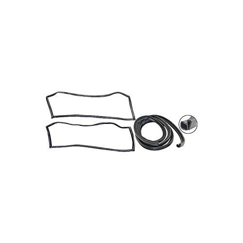 MACs Auto Parts 48-48514 Ford Pickup Truck Cab Weatherstrip Kit - With Chrome Windshield Mouldings & With Sliding Rear Window - F100 Thru F350 Ra