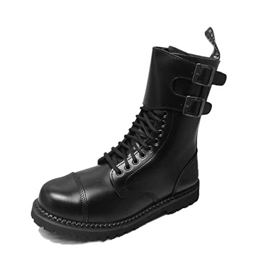 Grinders Mens Camelot CS 14 Eyelet Twin Buckle Derby Boot Black 10 US (Retro Mod Brogues)