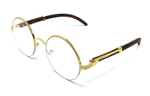 Professor Half Rim Round Metal & Wood Eyeglasses / Clear Lens Sunglasses (Gold & Cherry Wood Frame, - Glasses Frames Wood