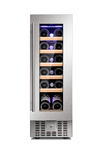 Joy Pebble Wine Cooler 18 Bottle Built-in Wine Cellar with Stainless Steel & Double-Layer Tempered Glass Door and Temperature Memory Function
