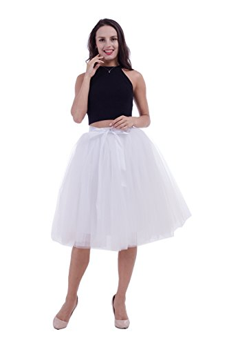 Women's Adult 7 Layered Pleated Tulle Tutu Skirt A Line Knee Length Petticoat Prom Party Skirt (White)