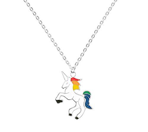 Altitude Boutique Unicorn Pendant Necklace, Colorful Rainbow Unicorn Necklace (Silver)
