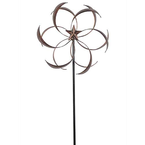 BeUniqueToday Outdoor Powder Coated Metal Flower Star Wind Spinner with Stake 76-inch, Beautifully Designed with Curved Metal Blades that Spin in Opposite Directions, Adds Elegance and Visual Interest by BeUniqueToday (Image #1)