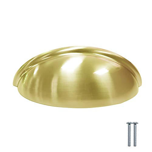 3' Brass Cabinet Cup Pull - 10 Pack Gold Bin Cup Cabinet Pulls 3 inch Hole Centers Dresser Drawer Closet Knob 3.7 inch Total Length Bedroom Bathroom Kitchen Hardware